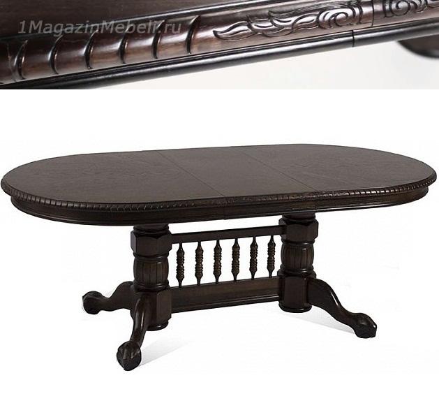 Стол 4296 SWC (MD) для дачи большой резной с косичкой деревянный венге (арт. М4204)