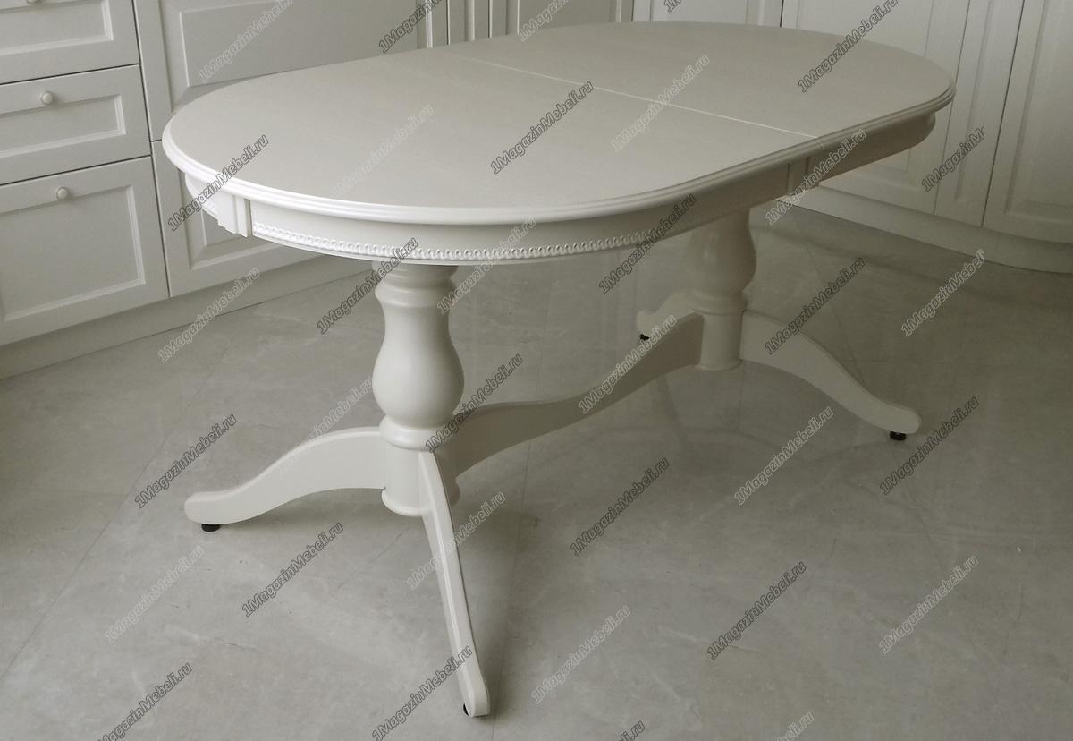 Стол кухонный бежевый из дерева 150-190 см., овальный, раскладной (арт. М4181)