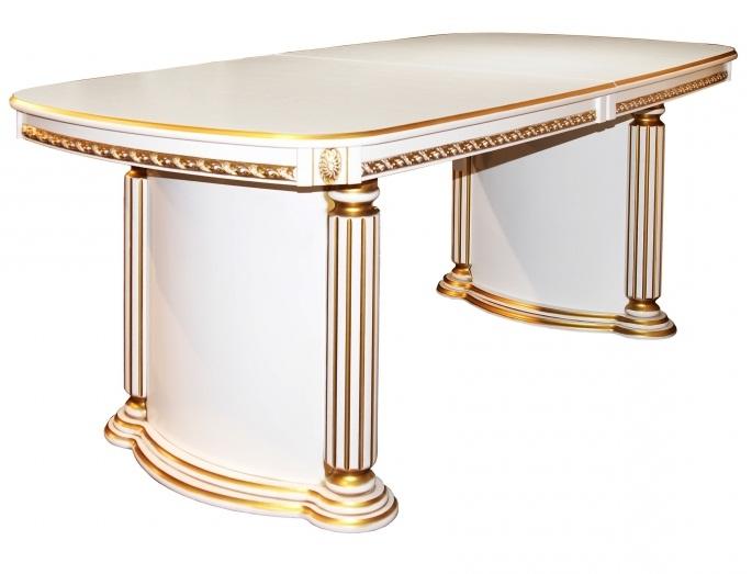 Большой белый стол классика с золотой патиной, длина 2 метра, раздвижной 260 см.,  (арт. М4344)