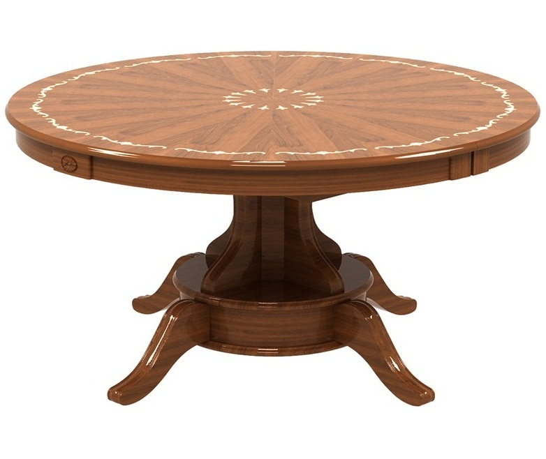 Большой круглый глянцевый стол из дерева, диаметр 150 см. раздвижной 205х150 см. (арт. М4341)