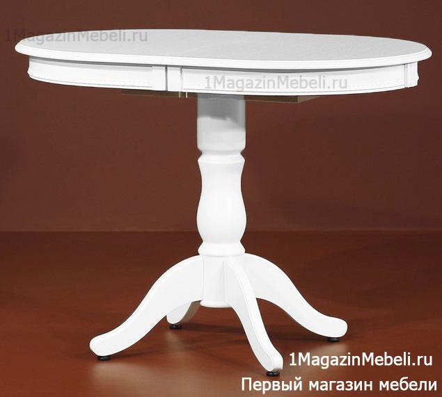 Белоснежный овальный стол на одной стойке раздвижной 105х70 см. (арт. М4340)