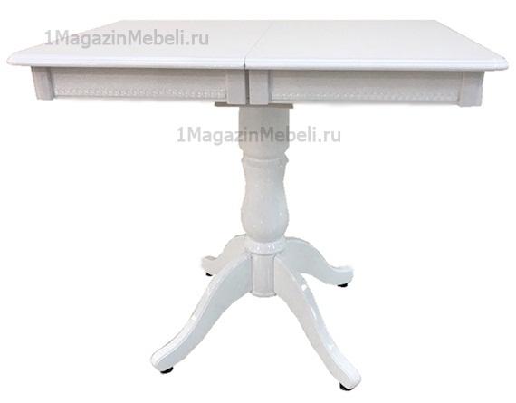 Компактный кухонный стол белый глянец 85х60 см. раздвижной, на одной ножке, прямоугольный (арт. М4342)