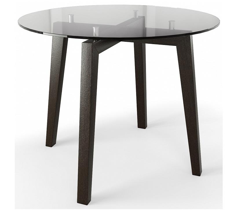 Стол стеклянный на кухню венге-графит 95 см. (арт. М4435)