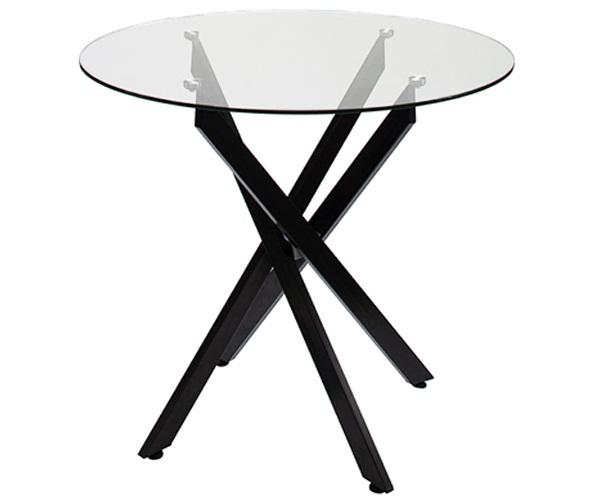 Стол стеклянный круглый 90 см. с необычной чёрной ножкой (арт. М4416)