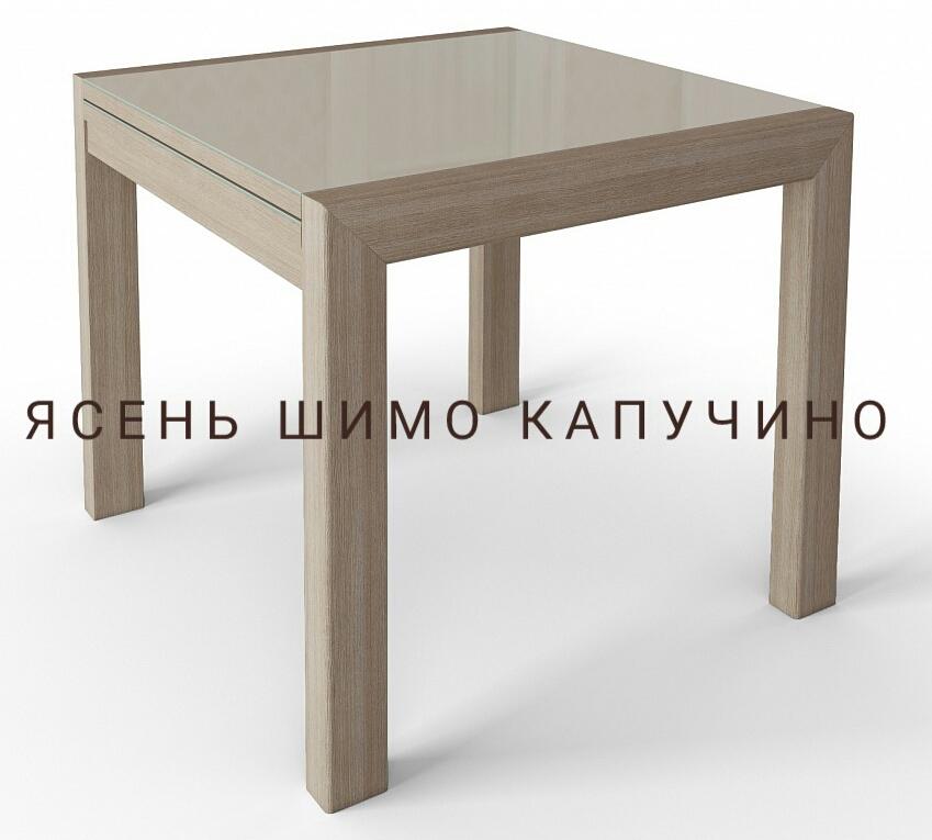Квадратный стеклянный стол Джокер лайт 70 см. венге белый (арт. М4383)