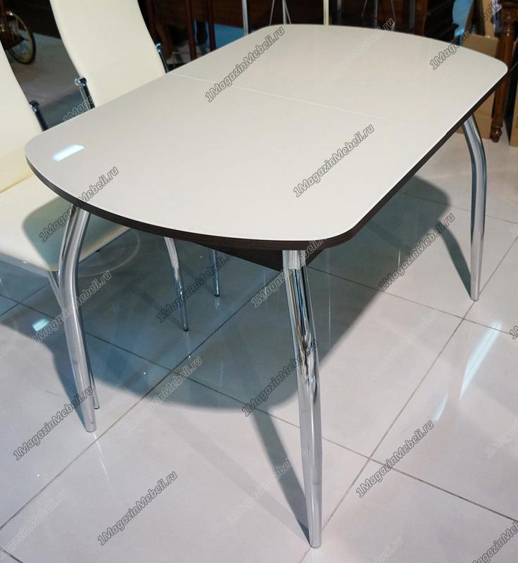 Стол стеклянный бежевый, глянцевый, раздвижной, овал (арт. М4230)