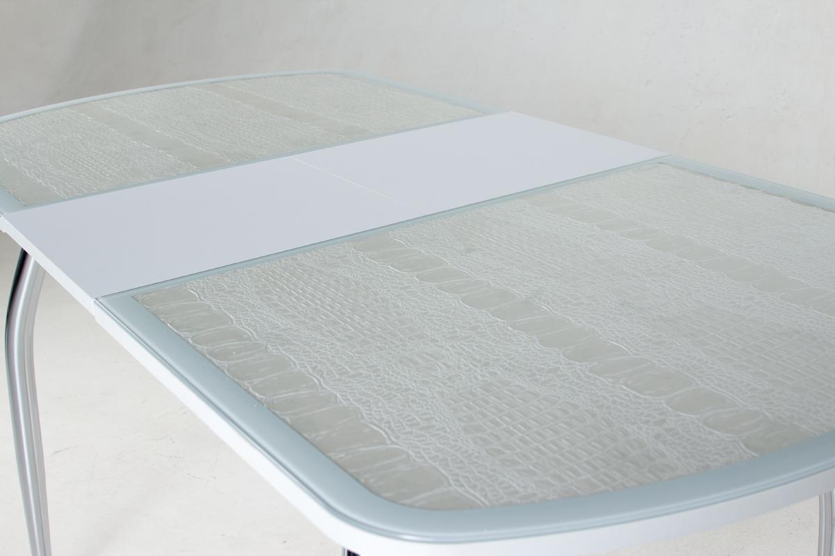 Кухонный стол белый крокодил, стеклянный овальный, раздвижной 120 см. (арт. М4370)