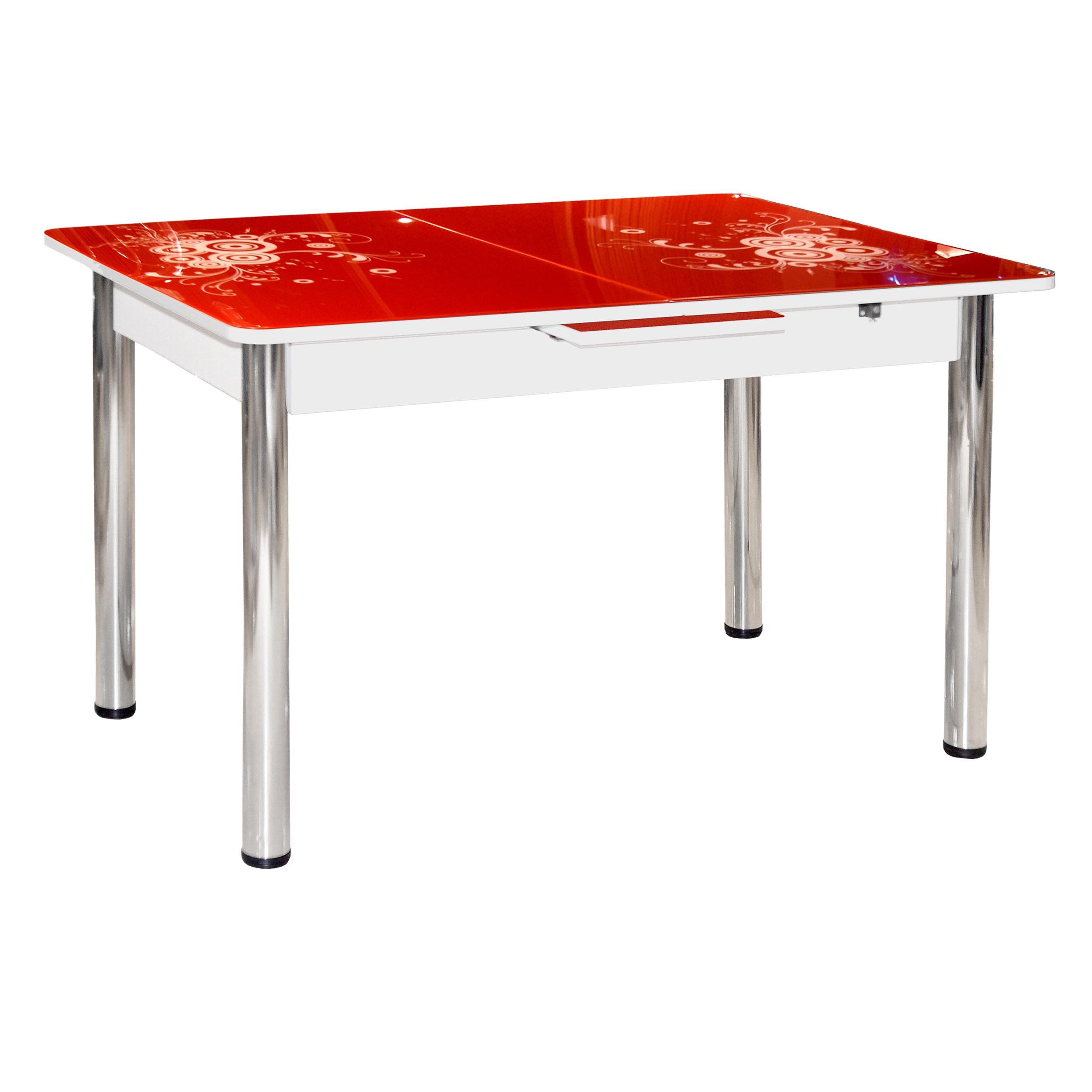 Стол стеклянный красный с микролифтом раздвижной М4243