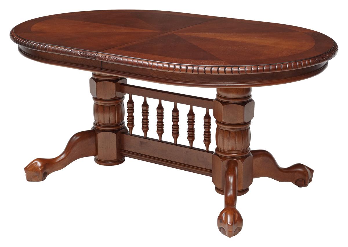 Большой деревянный овальный стол,162-203-244 см. темный дуб (арт. М4313)