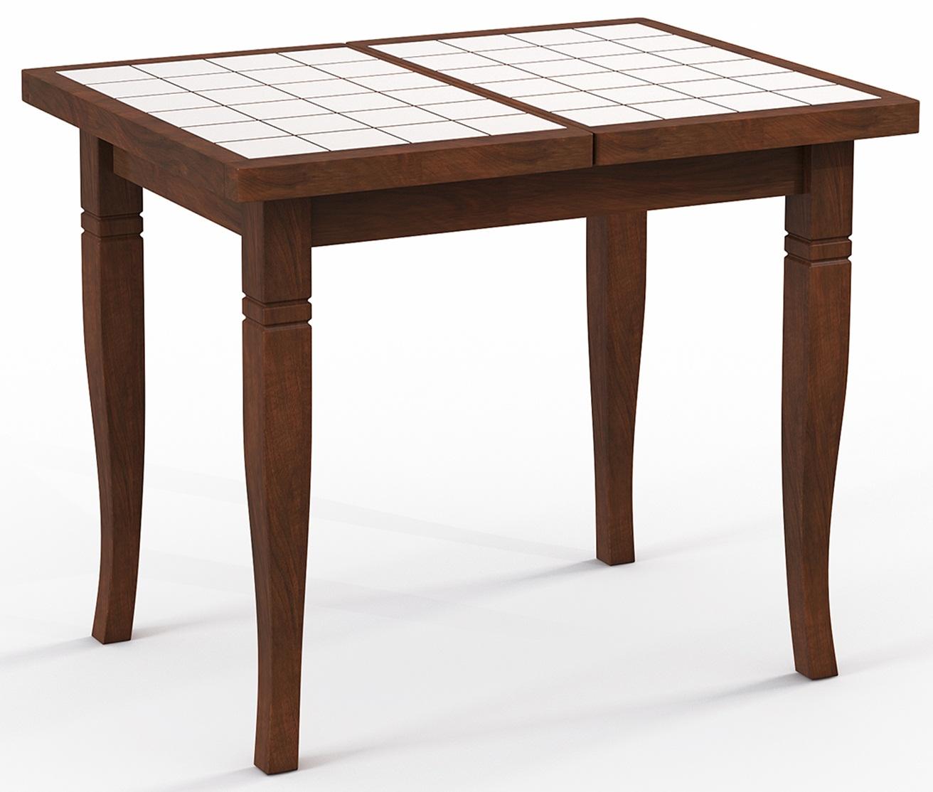 Стол для маленькой кухни Италия 87 дуб, 87х66 см. раздвижной, плитка (арт. М4357)