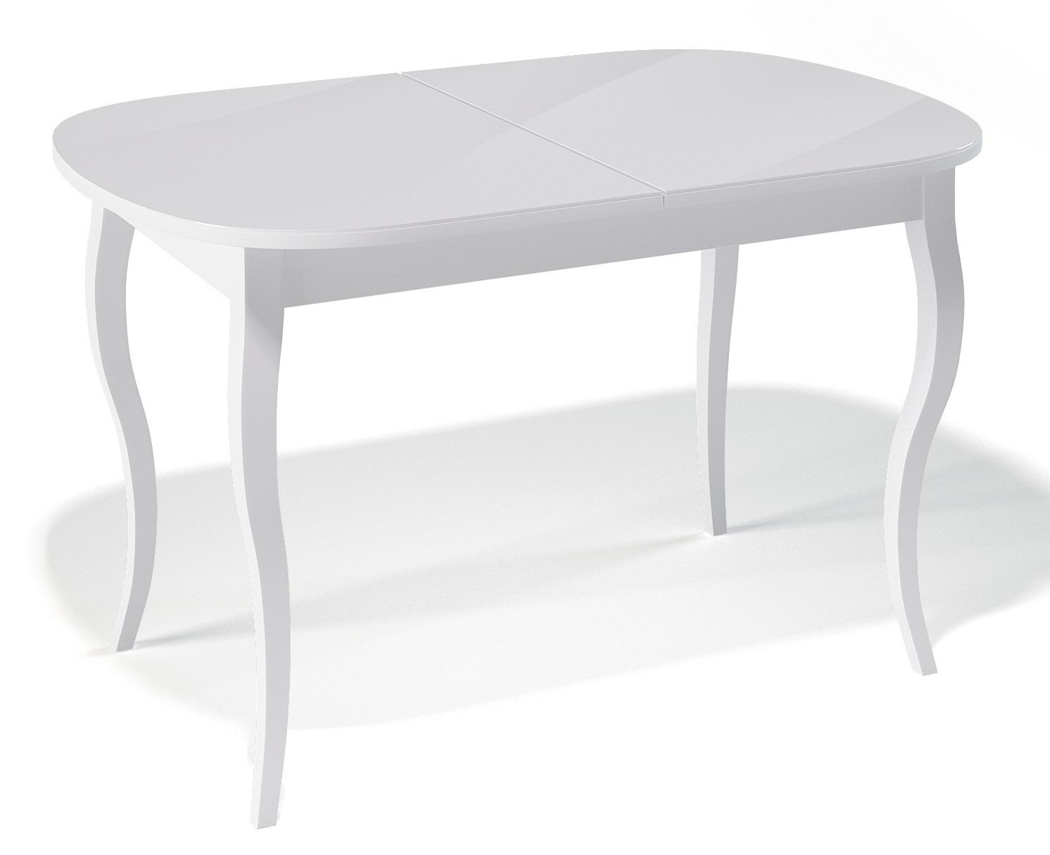 Стол деревянный белый со стеклянной столешницей (арт. М4192)