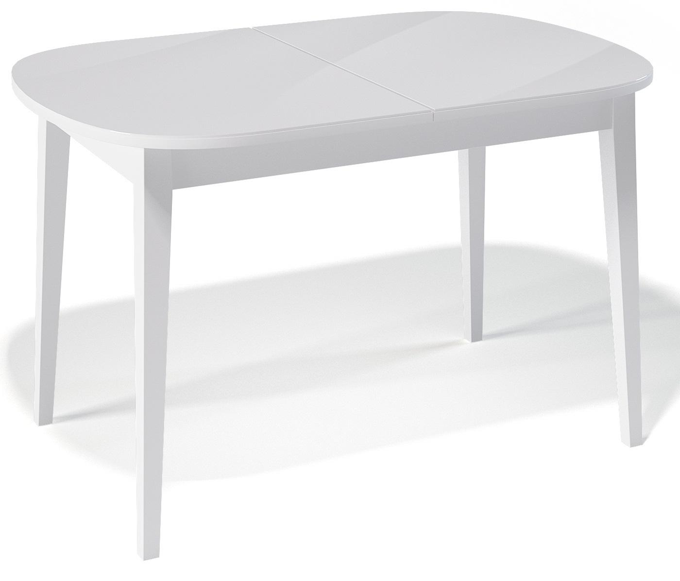 Стол со стеклом белый из дерева для кухни овальный раздвижной 130-170 см. (арт. М4260)