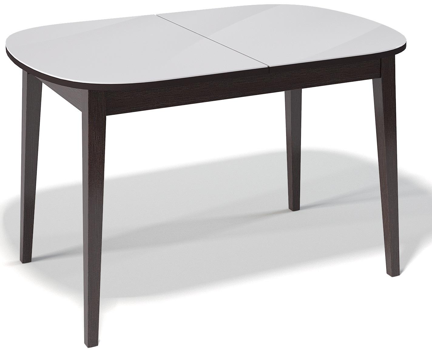 Стол деревянный 130 см. со стеклянной столешницей венге, белое стекло (арт. М4261)