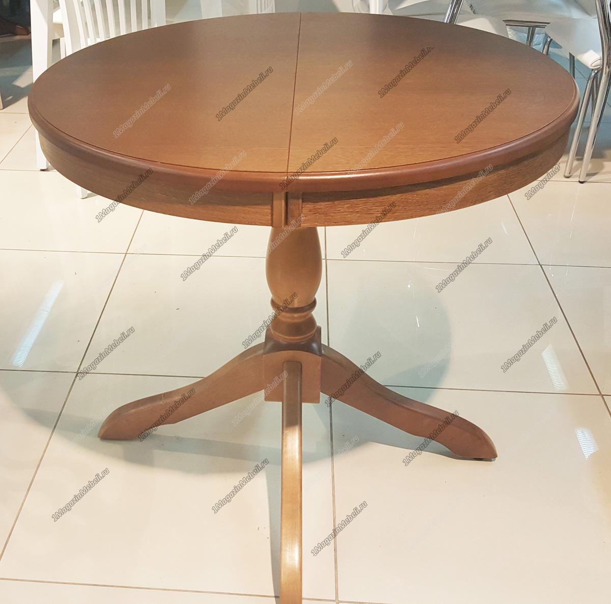 Стол кухонный дуб (орех), круглый 85 см. раздвижной (арт. М4254)