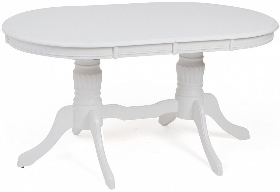 Стол белый PURE WHITE деревянный 150 см., раздвижной, овальный (арт. М4287)