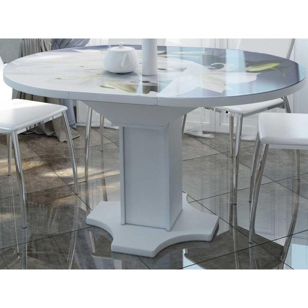 Стол круглый для кухни, овальный стеклянный, раздвижной 100-135 см. (арт. М4426)