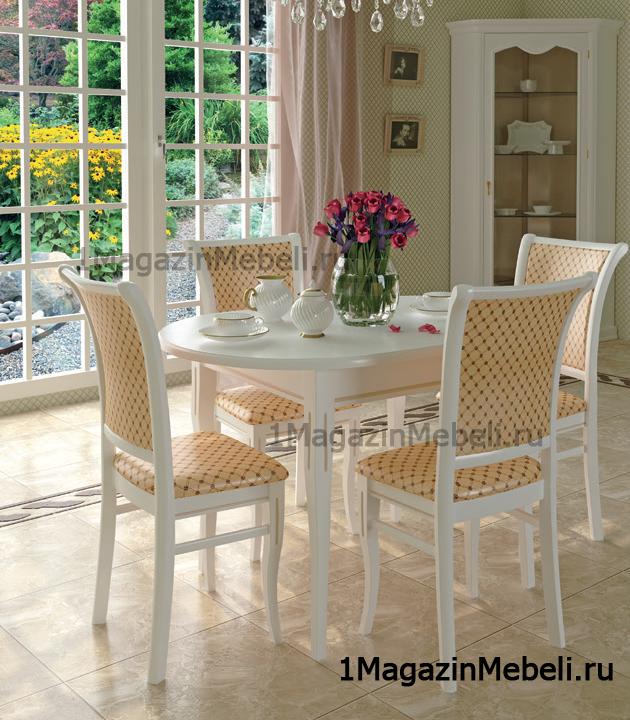 Стол Родон белый с патиной, овальный раздвижной 120*80 см. 150*80 см. (арт. М4337)