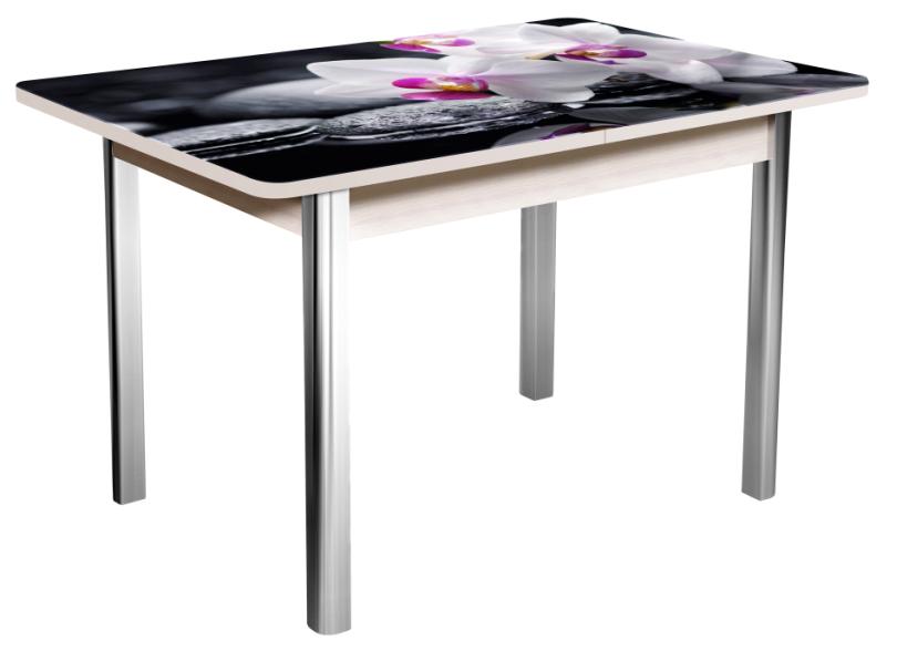 Стол стеклянный раздвижной 100х70 см., фотопечать, хром (арт. М4251)