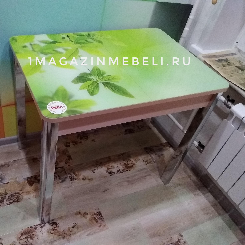 Стол стеклянный обеденный салатовый, зеленый, хром 100х70 см. (арт.4418)