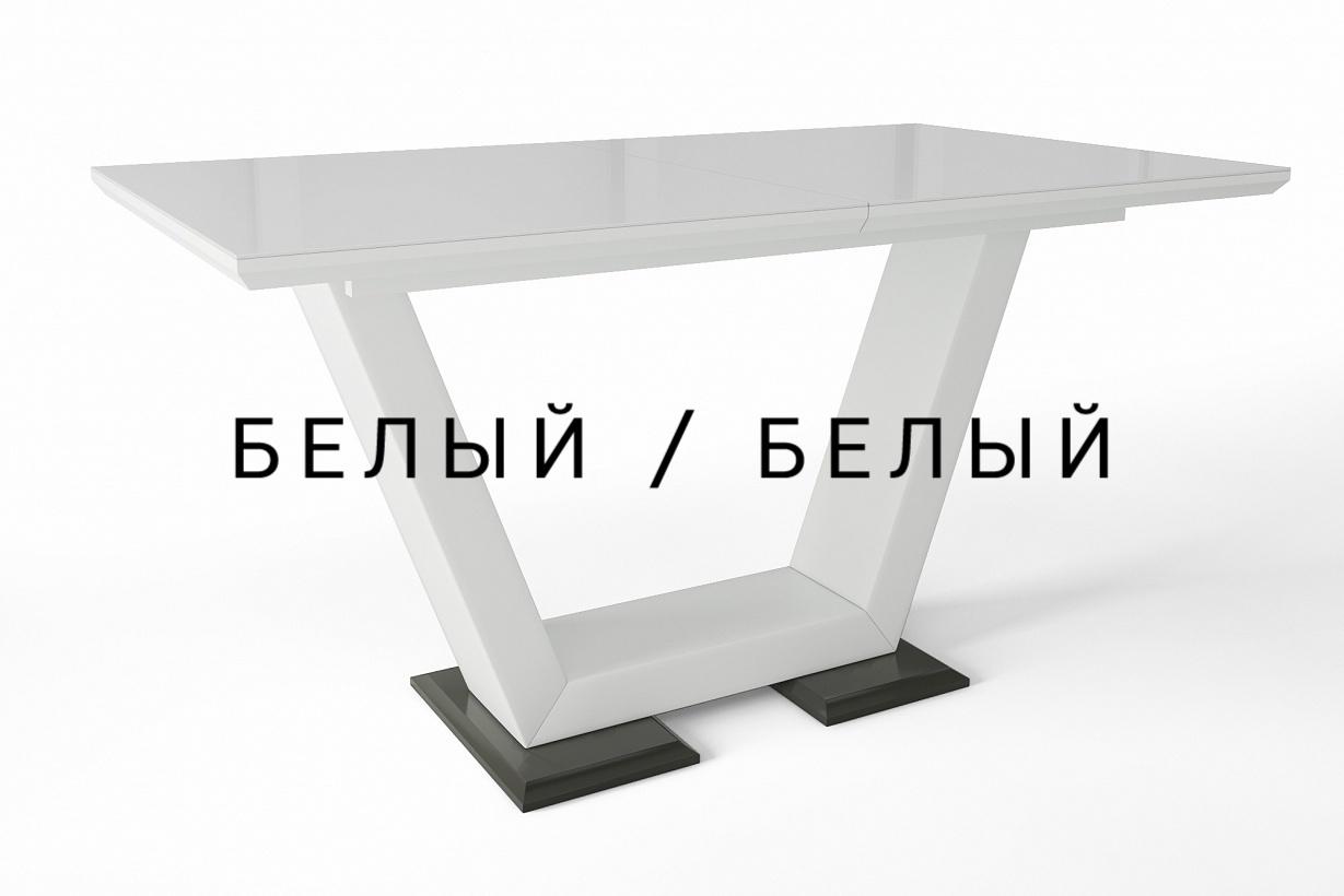 Стеклянный обеденный стол Виктория венге белый раздвижной 140-180 см. (арт. М4377)