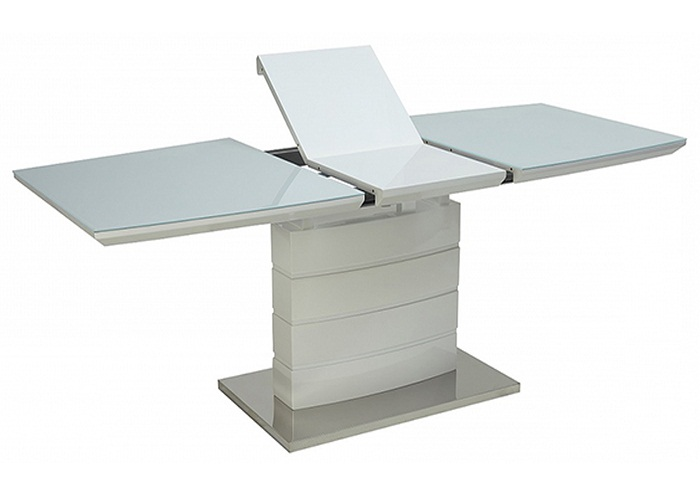 Стол на одной ноге, раздвижной стеклянный, белый 120х80 (арт. М4420)