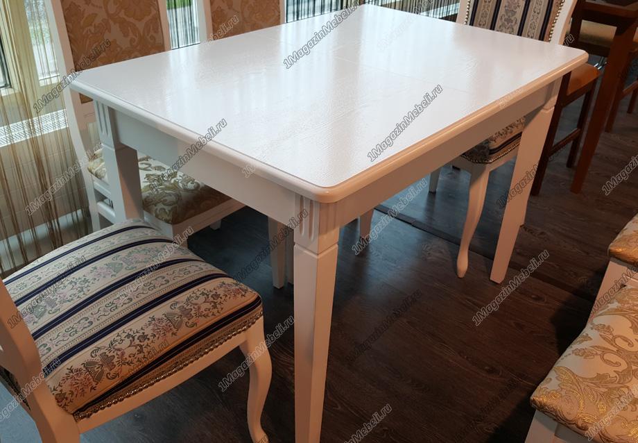 Стол прямоугольный классический, раздвижной 110-155 см., слоновая кость (арт. М4257)