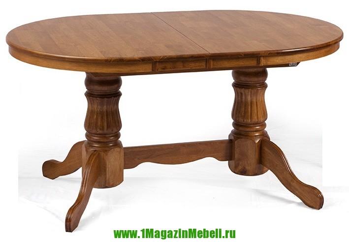 Обеденный стол овальный раздвижной светлого цвета массив