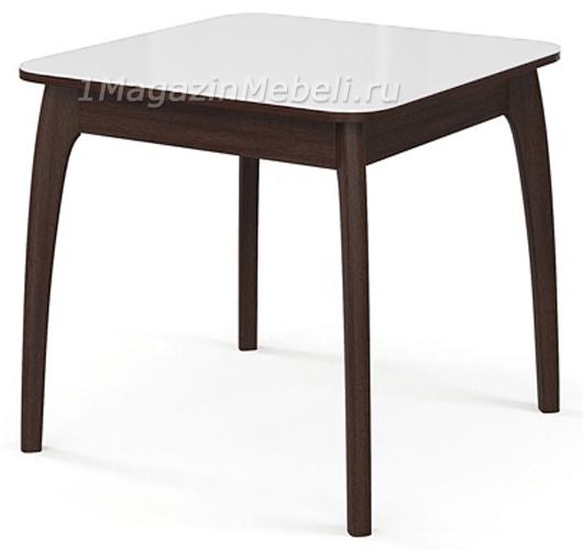 Стол обеденный дерево венге, белое стекло, квадратный, раздвижной (арт. М4285)