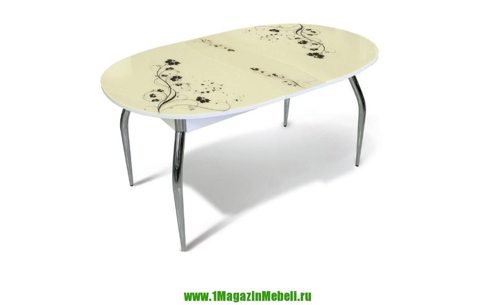 Стол для кухни стеклянный, овальный, раздвижной, бежевый (арт. М4214)