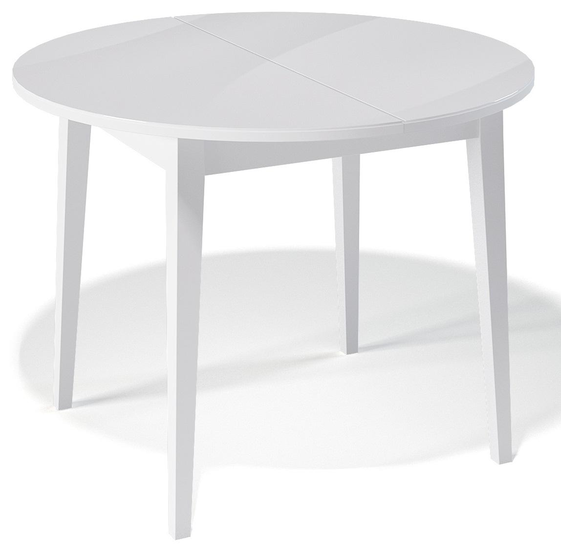 Стол круглый 100 см. кухонный белый раздвижной, стекло/дерево (арт. М4262)