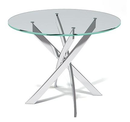 Современный стол для кухни, прозрачный, круглый 100 см. хром. (арт. М4187)