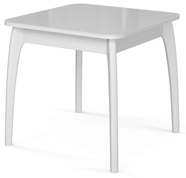 Стол обеденный белый из массива бука столешница стекло, раздвижной 80-170 см. (арт М4273)