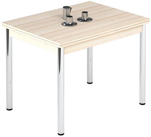Бежевый стол для кухни Лион молочный дуб 100х70 раздвижной (арт. М4323)