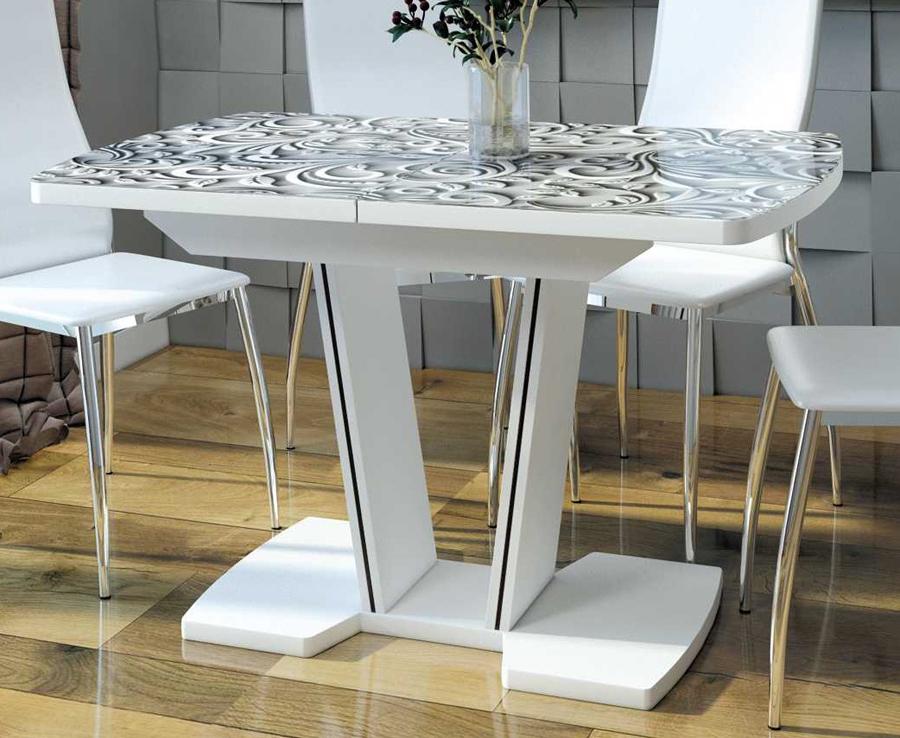 Стол стеклянный кухонный раздвижной 110 и 120 см., фото или однотонное стекло (арт. М4428)