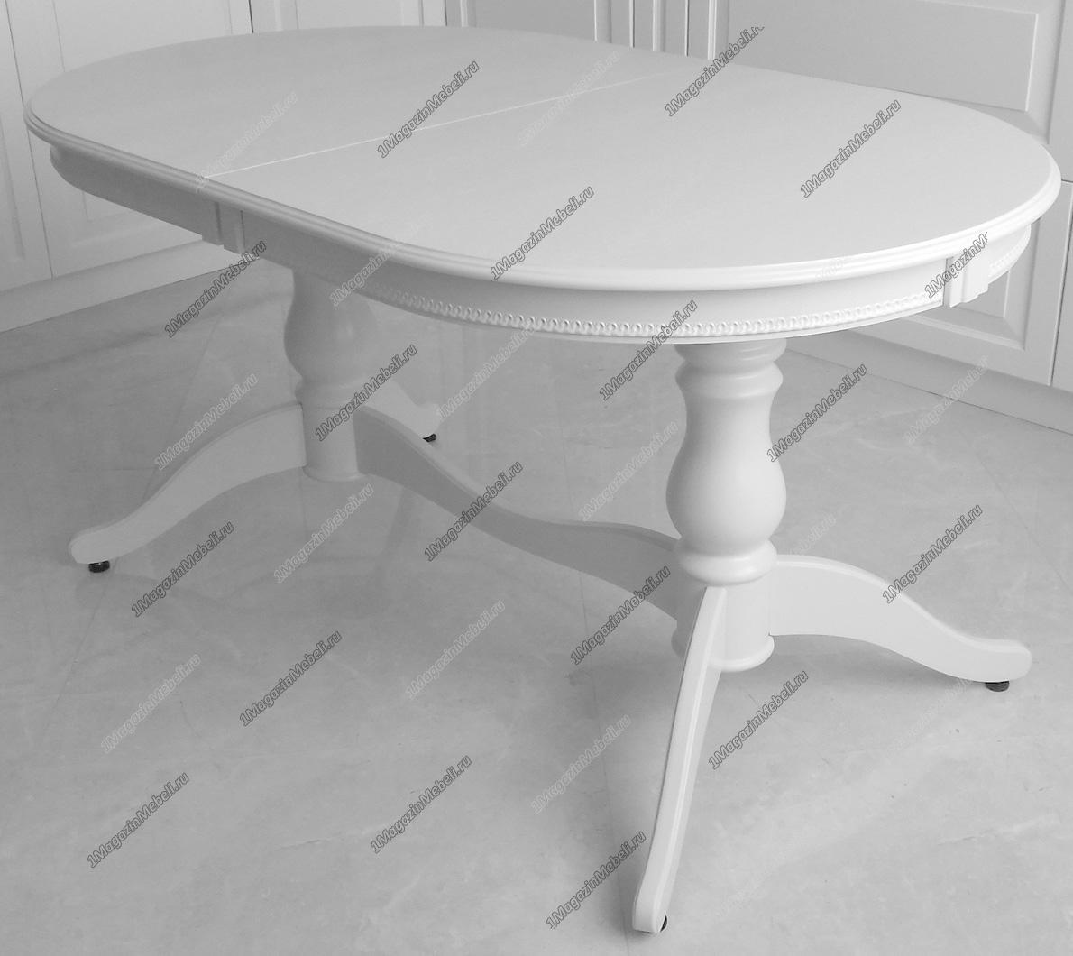 Стол белый деревянный для кухни 150-190 см., овал (арт. М4179)