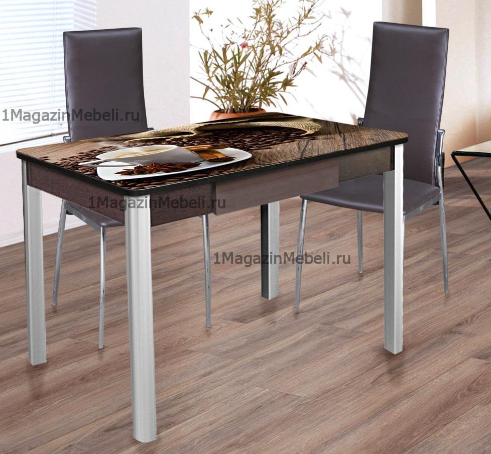 Стол обеденный не раздвижной 100х70 см. с ящиком, хром, фотопечать (арт. М4309)