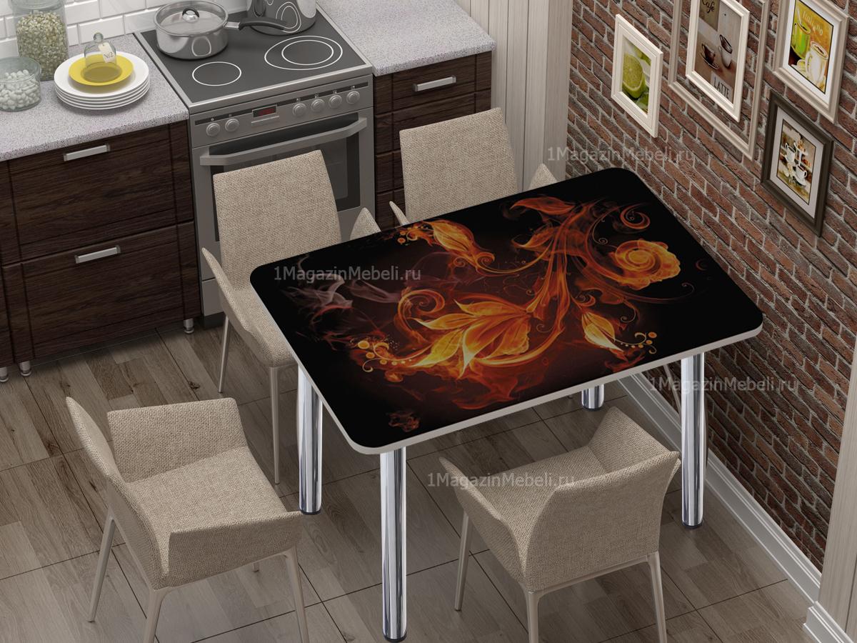 Стол кухонный-обеденный с фото 100х70 не раздвижной, стекло (арт. М4424)