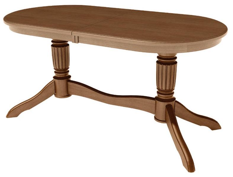 Стол обеденный деревянный раздвижной 150-200 см., цвет орех, столешница дуб (арт. М4332)