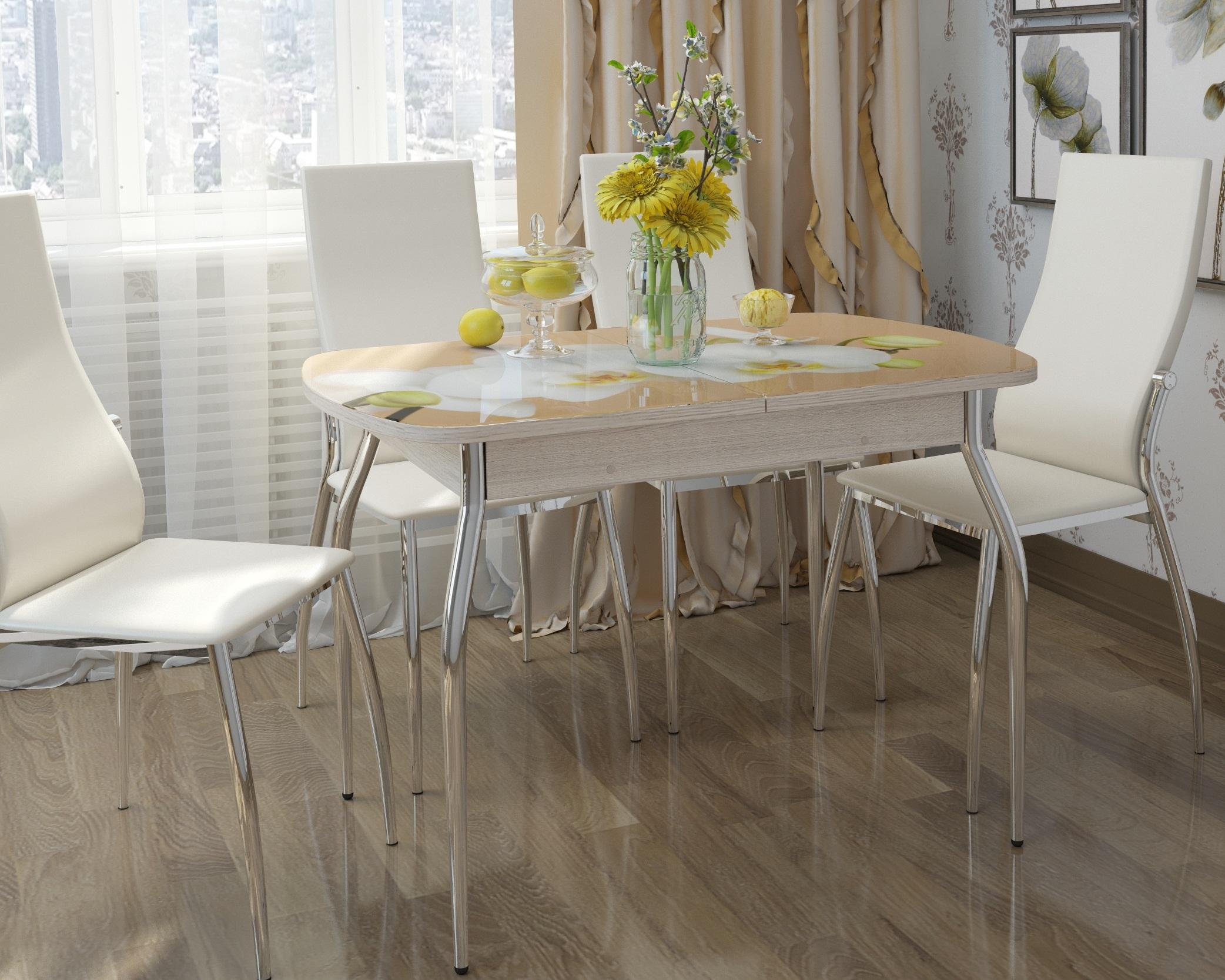 Стол стеклянный кухонный с фотопечатью раздвижной 120х80 см. (арт.М4199)