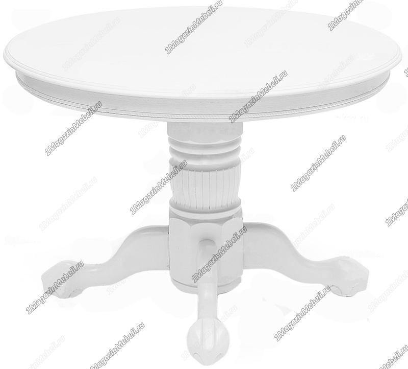 Стол обеденный деревянный, круглый, раздвижной белый (арт. М4224)