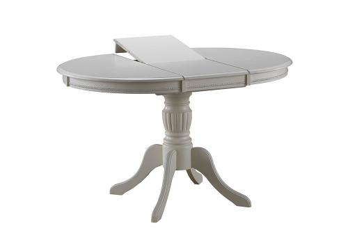 Стол круглый 90 см. слоновая кость раздвижной из дерева для кухни BUTTER WHITE (арт. М4241)