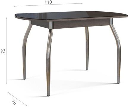 Стол обеденный овальный, стеклянный ножки хром, шоколад (арт. М4234)