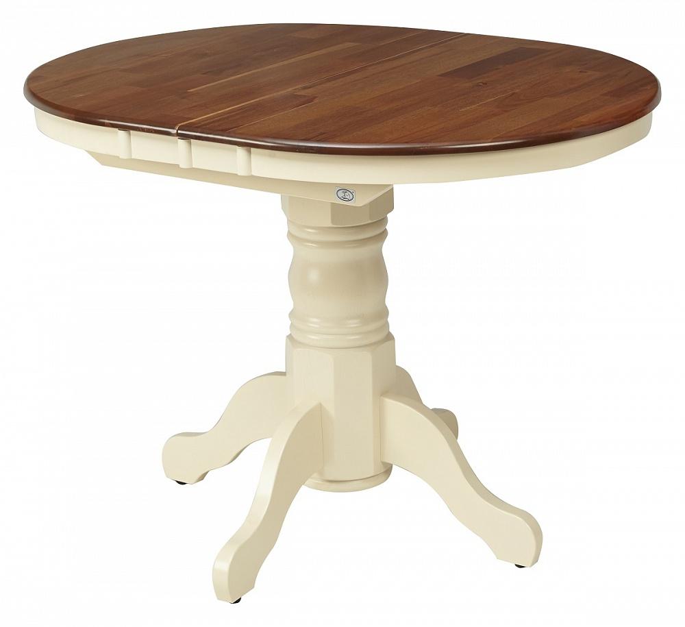 Стол обеденный раздвижной 105 см. из натурального дерева, крем-орех 3242 (арт. М4316)