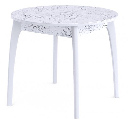 Стол круглый 90 см., раздвижной, столешница пластик белый мрамор (арт. М4430)