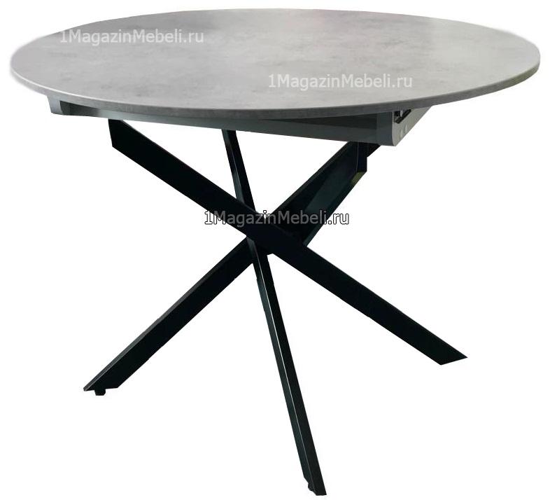 Стол с красивыми ножками, круглый 100 см. раздвижной, цвет бетон (арт. М4419)