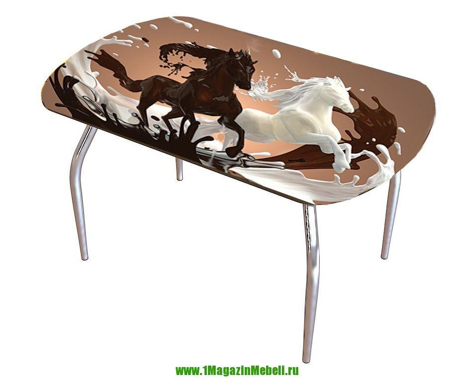 Стол стеклянный с фотопечатью 110 и 120 см. овал (арт. М4215)