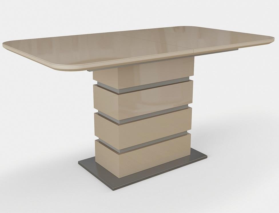 Стол стеклянный раздвижной Соло венге белый 140 см.  (арт. М4381)