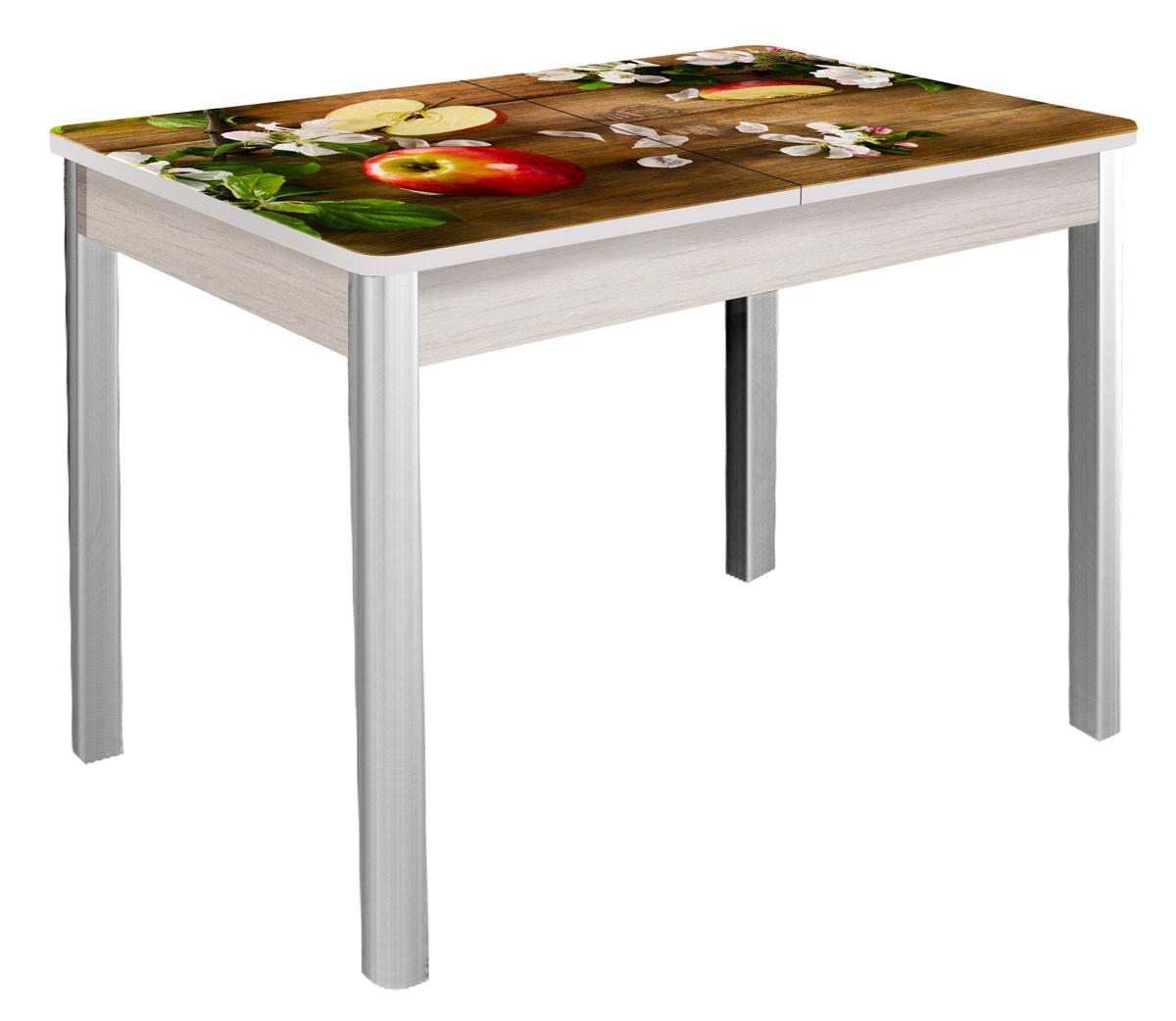 Стол фотопечать 87х60 см. стеклянный раздвижной, хром (арт. М4279)