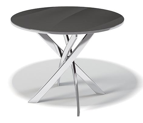 Современный круглый стеклянный стол диаметр 100 см. черный, хром (арт. М4252)