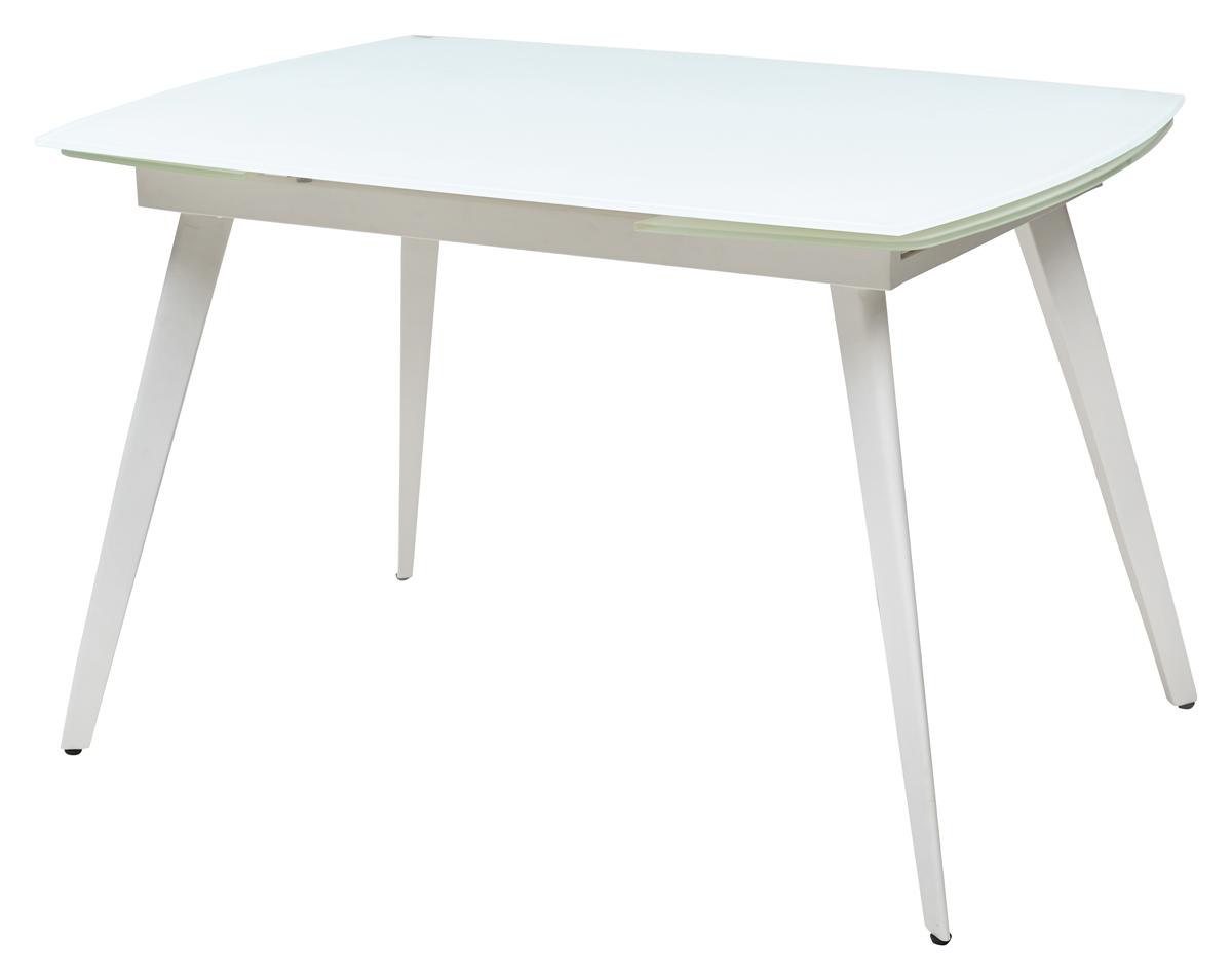 Стол стекло белый овал раздвижной с металлическими белыми ножками (арт. М4314)